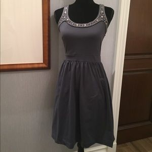 Sz S Cynthia Rowley Gray Embellished Formal Dress